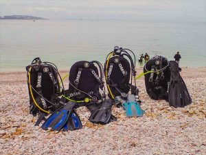 Getting kit ready for a training dive at Brixham
